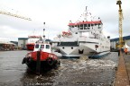 Veerboot Rottum met de Schottel aan het werk